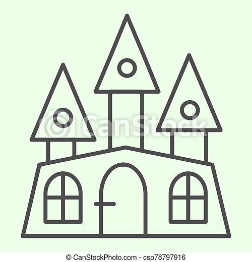 casa, concepto, graphics., blanco, tela, halloween, místico, móvil, vector, pictogram, fondo., obsesionado, delgado, gótico, edificio, icon., bruja, estilo, design., línea, castillo, contorno, tres, torres - csp78797916