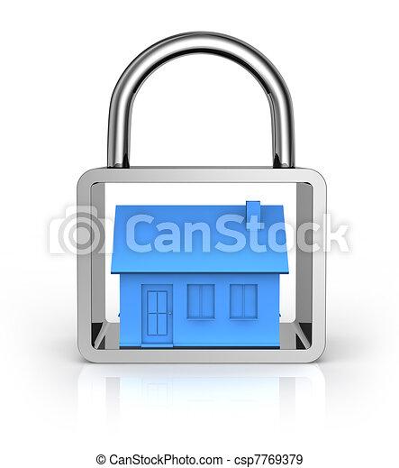 Casa concetto assicurare casa lucchetto render 3d for Aprire piani casa concetto