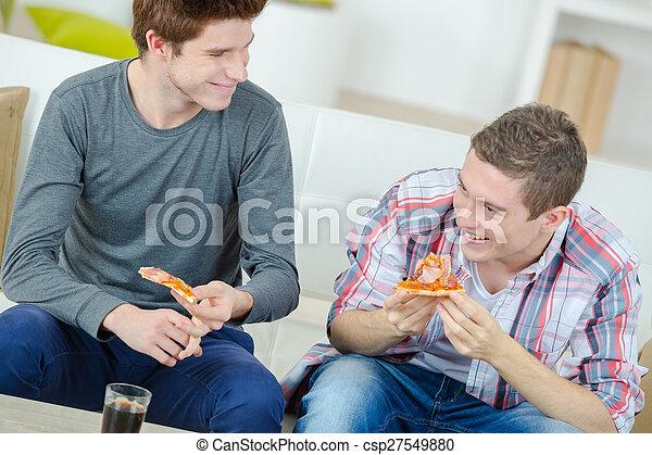 casa, condivisione, amici, pizza - csp27549880