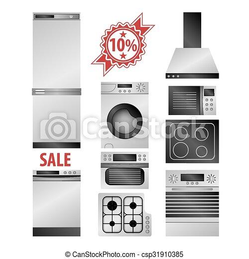Los electrodomésticos de la cocina - csp31910385