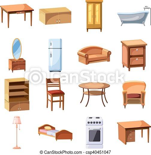 Casa conjunto muebles aparatos iconos vector for Muebles de casa