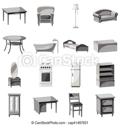 Casa conjunto muebles aparatos iconos gris 16 for Stock de muebles