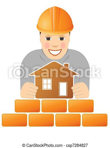 Feliz constructor con casa - csp7284827