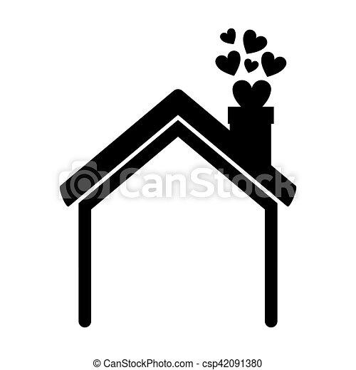 casa, corações, silueta, chaminé, pretas - csp42091380