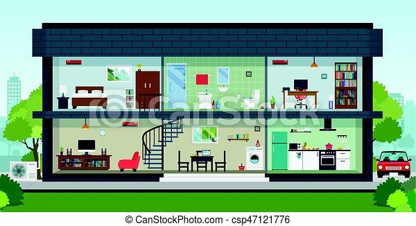 Casa dentro interno casa ha cielo sfondo for Disegno casa interno