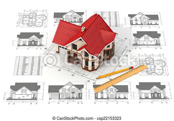 casa, diferente, projeções, esboços, blueprints. - csp22153323