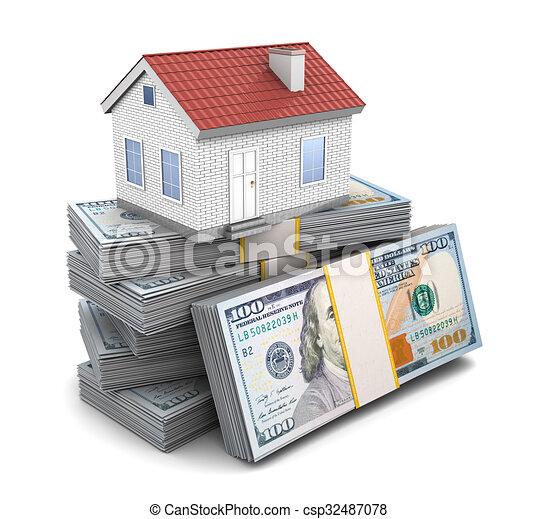 Casa, dinero. Dinero, encima, ilustración, casa, pequeño, pila, 3d.