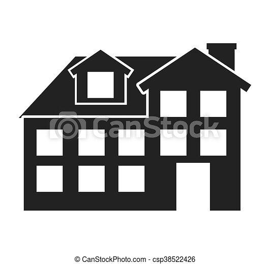 Casa disegno isolato esterno icona grafico casa for Casa disegno