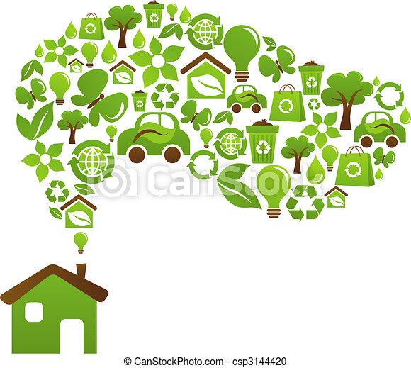 casa, ecológico, vetorial, -, desenho - csp3144420