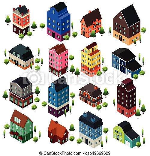 Diferentes edificios isometricos - csp49669629