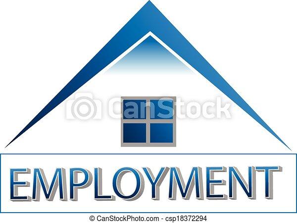 La oficina de la casa para dar el logotipo de empleo - csp18372294