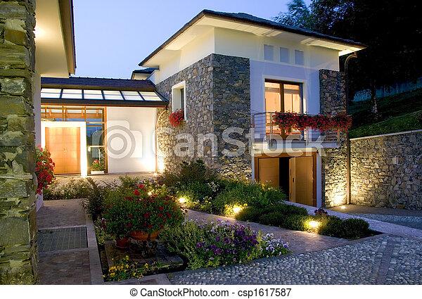 casa, enorme, tramonto, lusso, nuovo - csp1617587