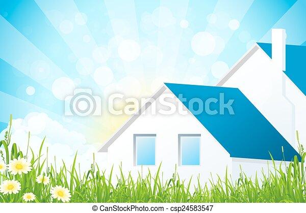 casa, erba, verde - csp24583547