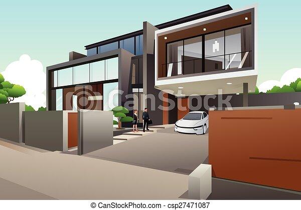 Gente en una casa moderna - csp27471087