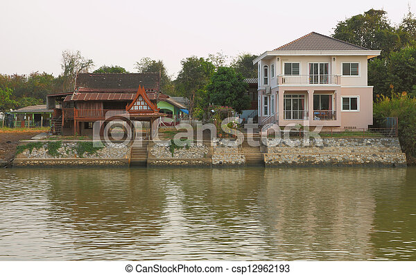 casa, estilo, waterfront., velho novo - csp12962193