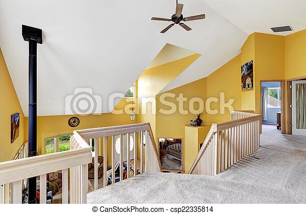casa fattoria, hight, vaulted, lusso, ceiling., vista interna - csp22335814