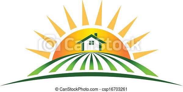 casa fazenda, sol, logotipo - csp16703261
