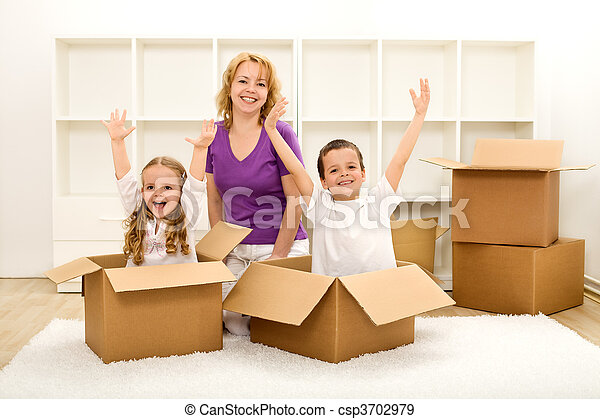 casa, felice, spostamento, nuovo, persone - csp3702979