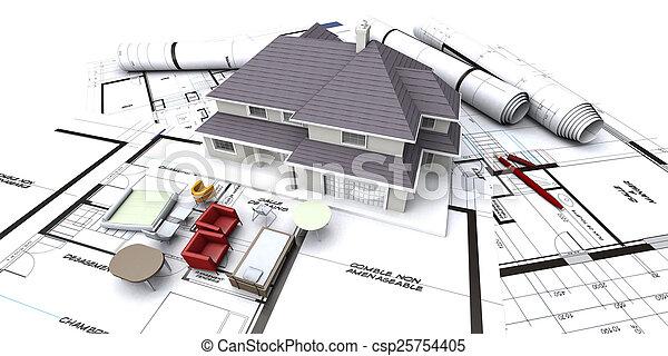 casa, futuro, planificación - csp25754405
