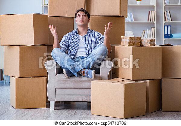 casa, giovane, scatole, spostamento, uomo nuovo - csp54710706