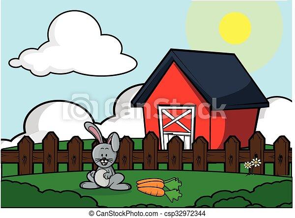 Casa granja paisaje conejo vector eps buscar im genes - Casa conejo ...