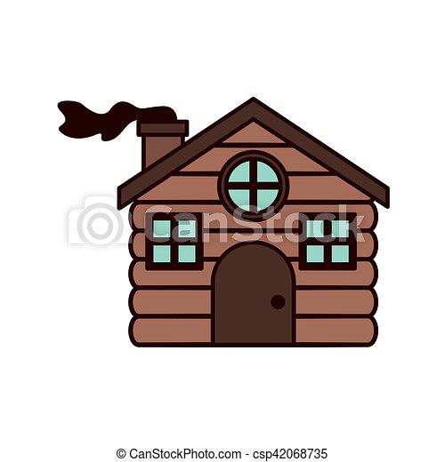 Casa hecha de madera con chimenea - csp42068735