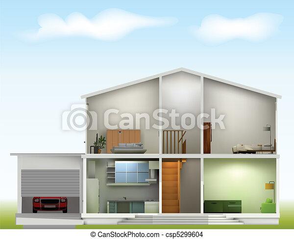Casa cortada con interiores contra el cielo - csp5299604