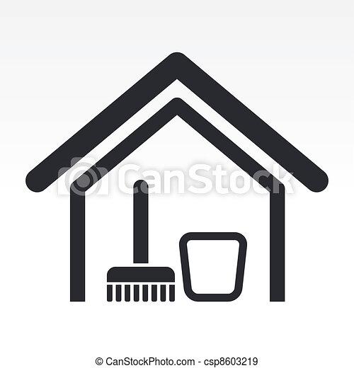 casa, isolato, illustrazione, singolo, vettore, pulito, icona - csp8603219
