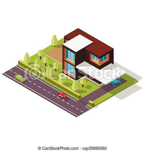 Casa isométrica al estilo escandinavo - csp35895060