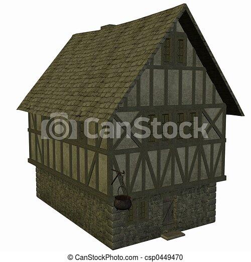 Casa medievale render 3d illustrazione d 39 archivio for Piani di casa castello medievale