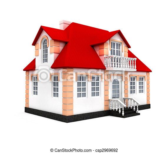 Casa modello isolato 3d casa sopra isolato fondo for Disegno 3d free