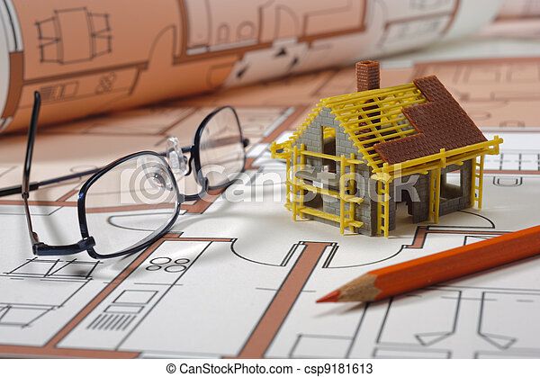 Modelo de la casa en bluprint arquitectónico - csp9181613