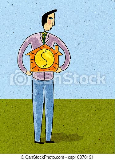 Un hombre sosteniendo una casita con un signo de dólar - csp10370131