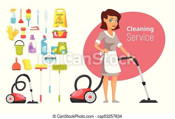 Personaje De La Casa Aspirando Ilustración Estilo Vector De Dibujo Animado De La Mujer Del Servicio De Limpieza Y Esas Cosas Canstock