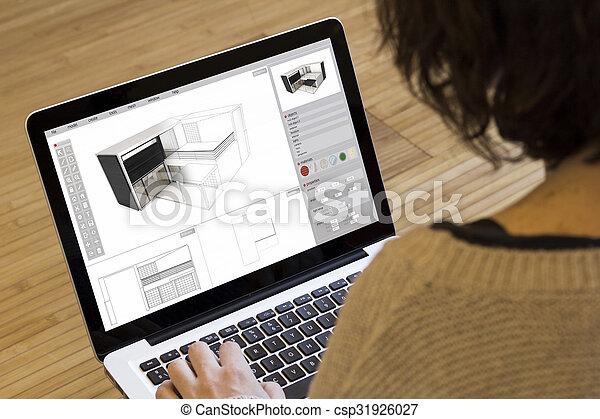 Una mujer modelando una casa - csp31926027