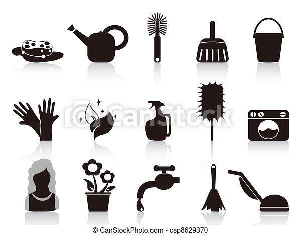 casa, negro, iconos - csp8629370