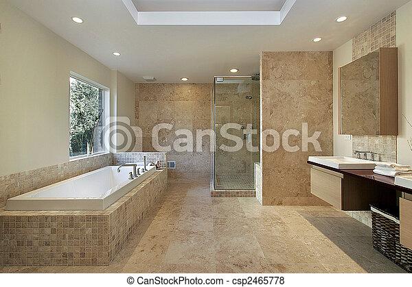 Casa, nuovo, costruzione, maestro, bagno. Moderno, bagno, doccia ...