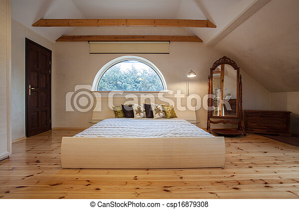 casa, -, nuvoloso, camera letto - csp16879308