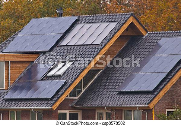 casa, painéis, solar - csp8578502