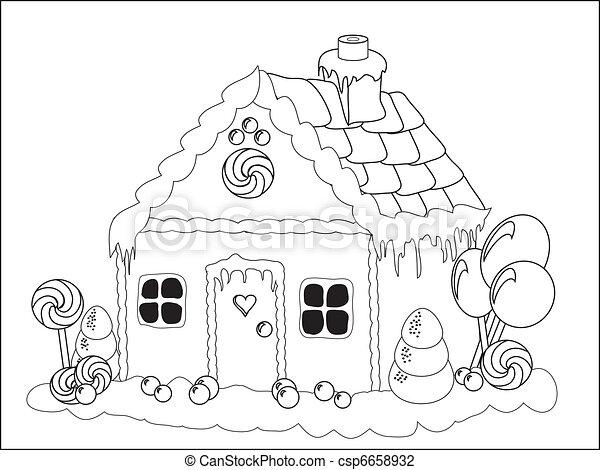 Casa, pan de jengibre, página, colorante. Actividades, illustration ...