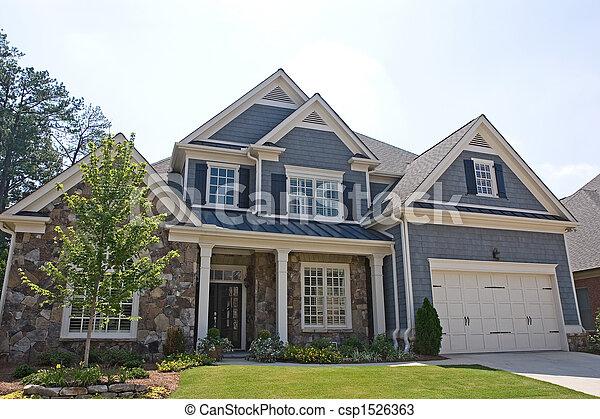 casa, pedra, siding, cinzento - csp1526363