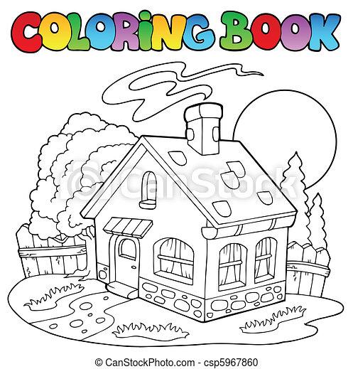 Casa pequeña, libro colorear. Colorido, illustration., casa ...