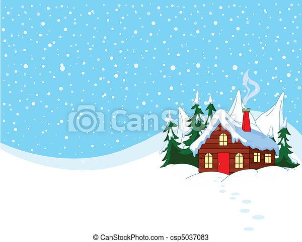casa, pequeno, colinas, nevado - csp5037083