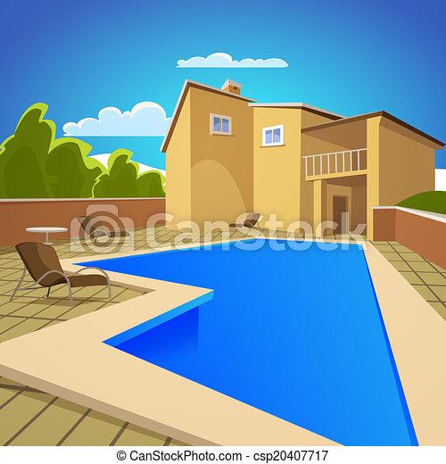 Clip art vectorial de casa piscina natacin  Illustration de