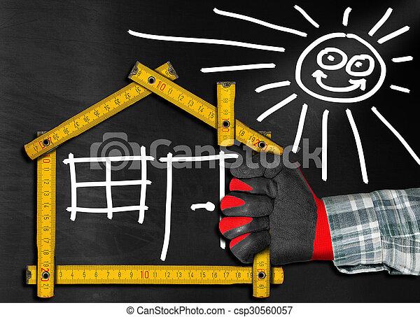Proyecto de la casa - medidor de madera en la pizarra - csp30560057