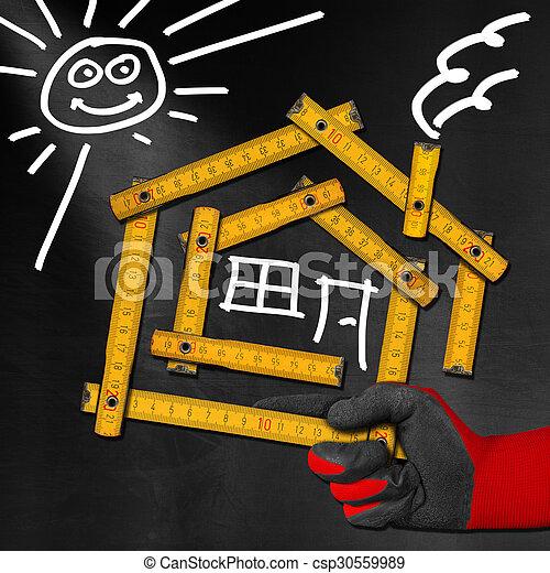 Proyecto de la casa - medidor de madera en la pizarra - csp30559989