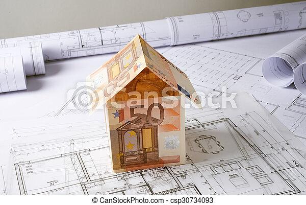 casa, planos, arquitetura, dinheiro - csp30734093