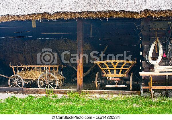 casa, polonia, viejo, abandonado, aldea - csp14220334