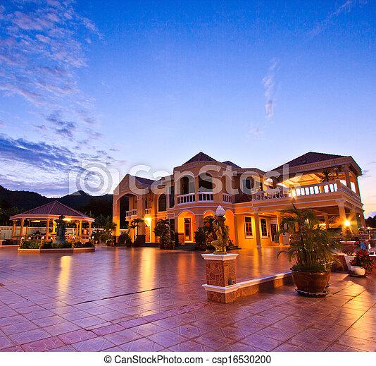 casa, recurso, luxo, tempo, alvorada, noturna - csp16530200
