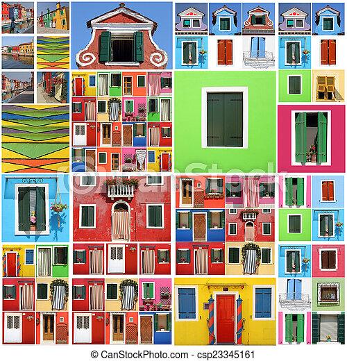 Colorido patrón abstracto de la casa Burano - csp23345161